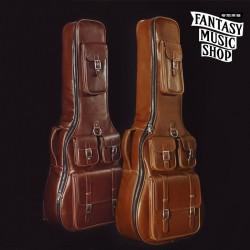 木吉他皮革厚琴袋 | 現貨褐咖啡色(右邊)