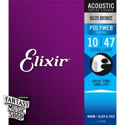 Elixir 80/20 黃銅Polyweb民謠吉他弦(10-47)