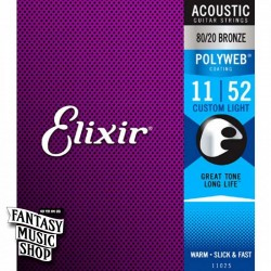 Elixir 80/20 黃銅Polyweb民謠吉他弦(11-52)