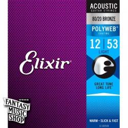 Elixir 80/20 黃銅Polyweb民謠吉他弦(12-53)