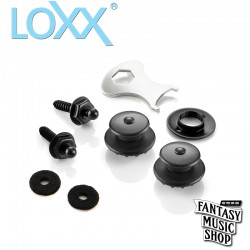 Loxx 德製安全肩帶釦-吉他/貝斯-霧黑 (鍍鉻) XL 厚肩帶專用